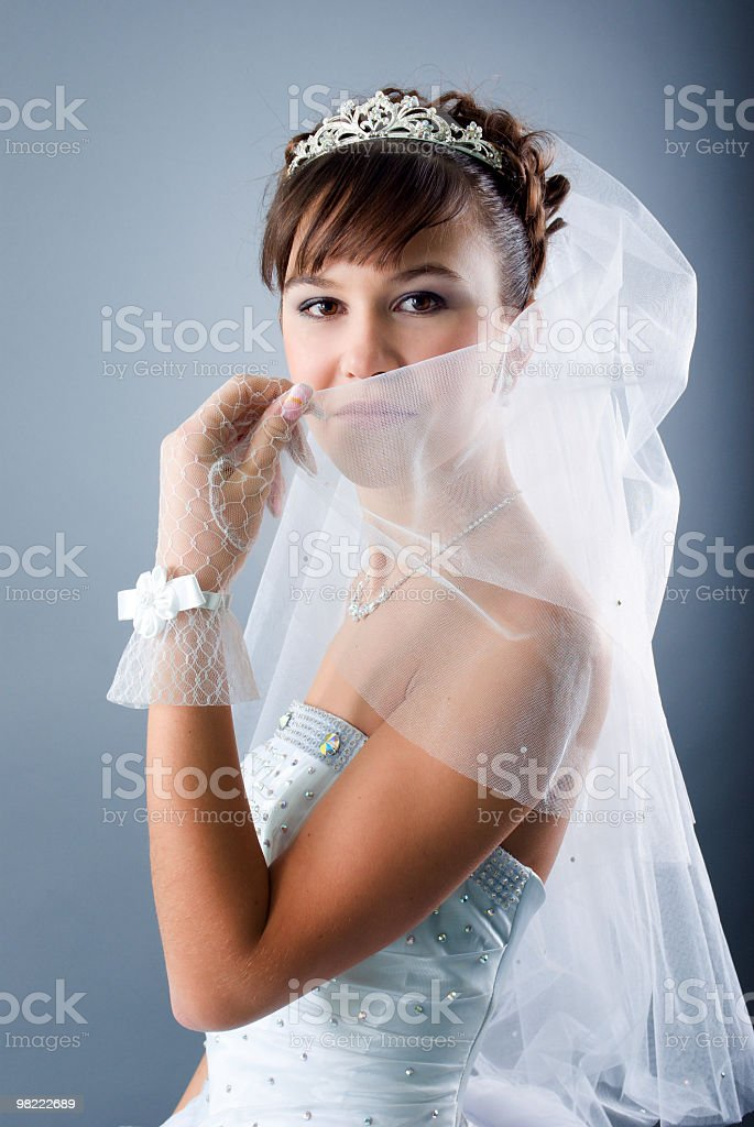 bride dressed in elegance white wedding dress royalty-free stock photo