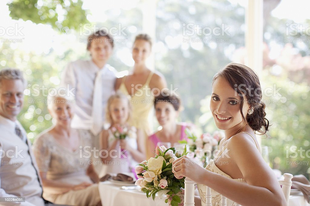 Bride enjoying wedding reception stock photo
