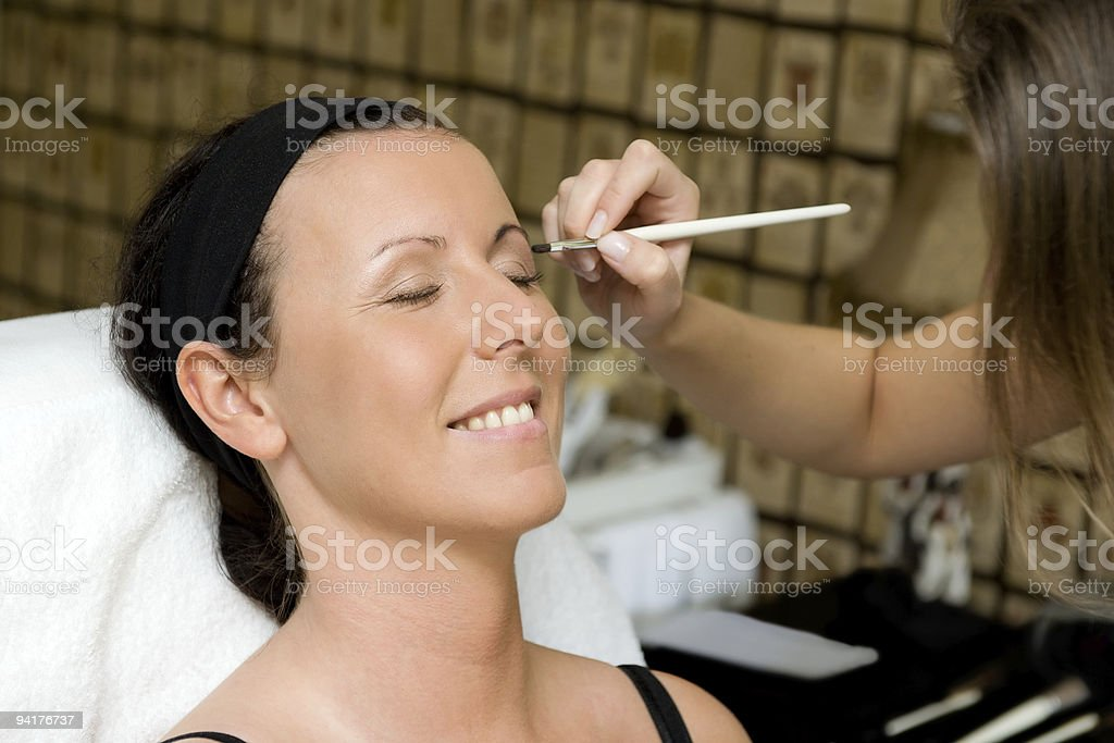 Bride Getting Her Makeup Done Before Wedding Royalty Free Stock Photo