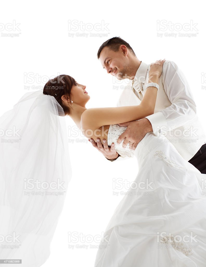 Bride Groom Dance, Wedding Couple Dancing, Looking Each Other Face stock photo