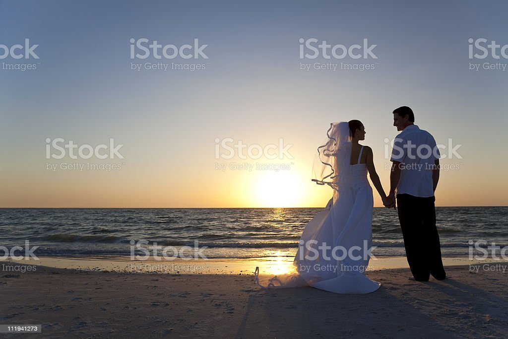 Bride & Groom Married Couple Sunset Beach Wedding royalty-free stock photo
