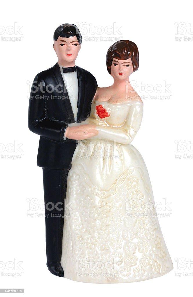 Bride & Groom Wedding Cake Topper royalty-free stock photo