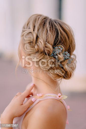rear view of bride's wedding hairstyle, close up