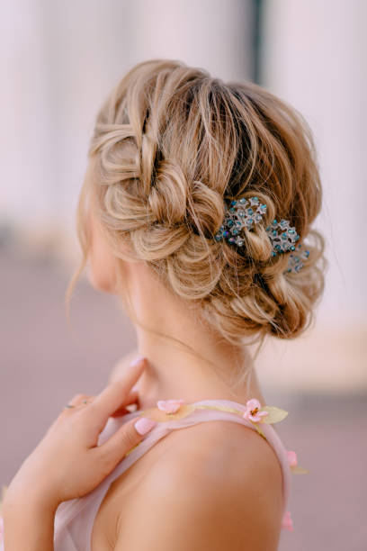 bride hair style close-up rear view of bride's wedding hairstyle, close up hairstyle stock pictures, royalty-free photos & images
