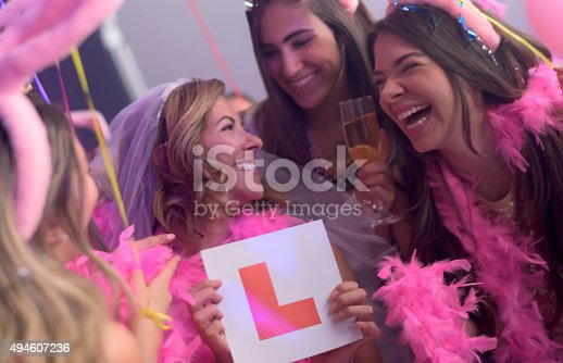 istock Bride having fun at her bachelorette party 494607236