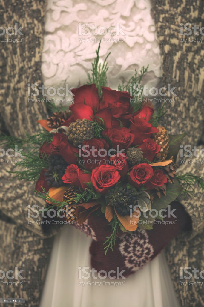 Bride holding a wedding bouquet. стоковое фото