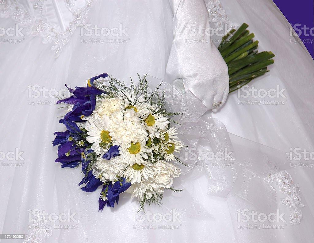bride holding bouquet stock photo