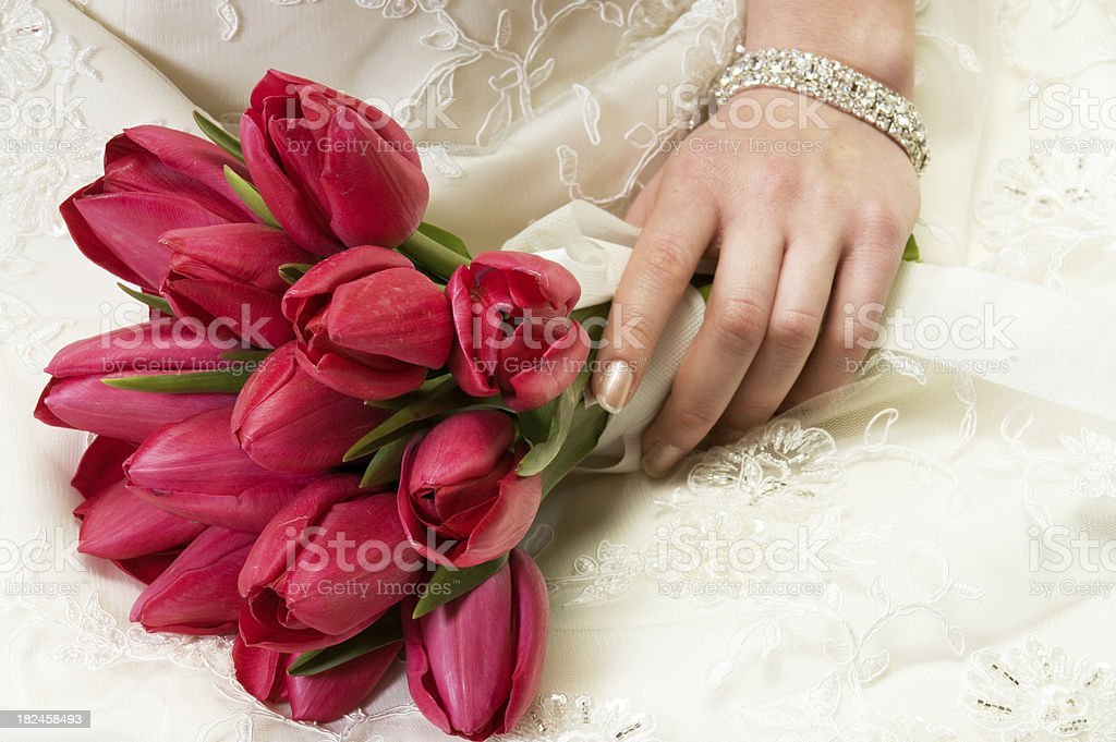 Bride holding bouquet royalty-free stock photo