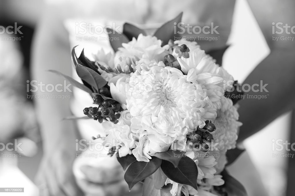 Bride Holding Flower Bouquet Black and White stock photo