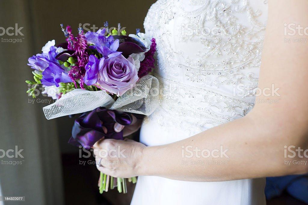 Bride Holding Flower Bouquet stock photo