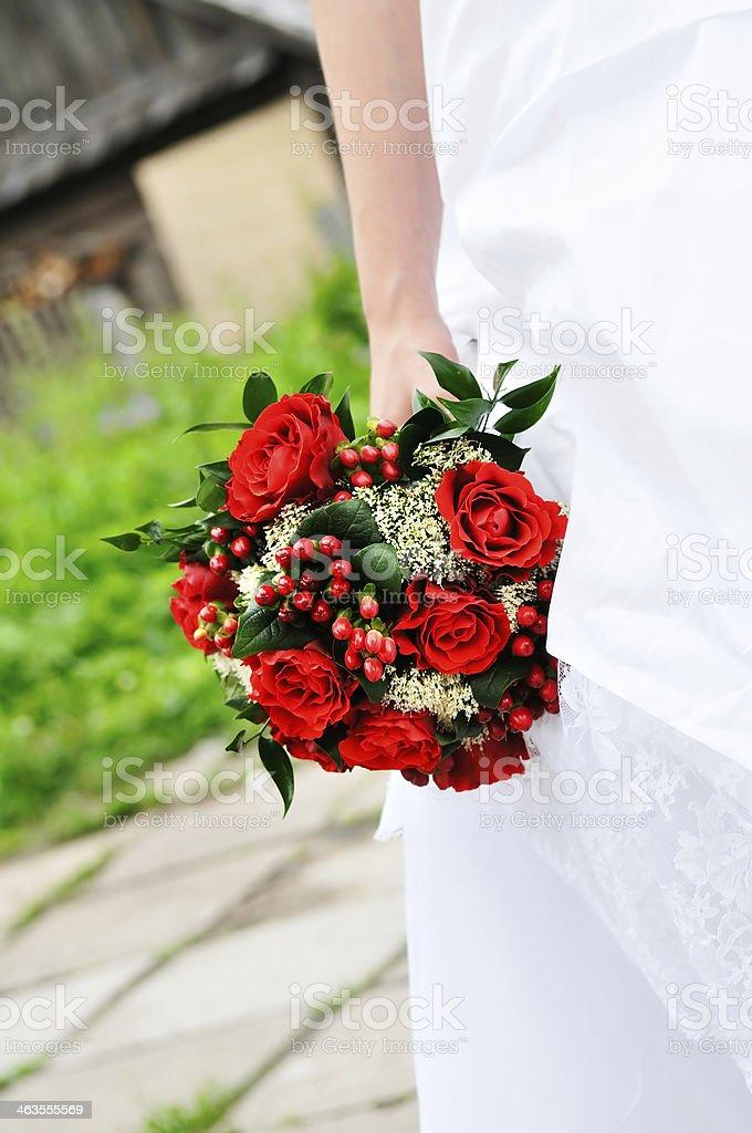 Braut Halten Hochzeit Blumen Blumenstrauss Rot Stock Fotografie Und