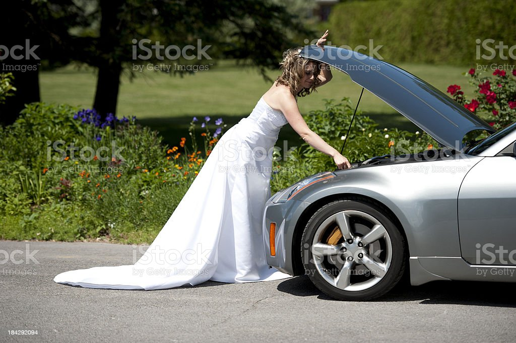 bride hood car open, damage, failure, wating mechanical problem royalty-free stock photo