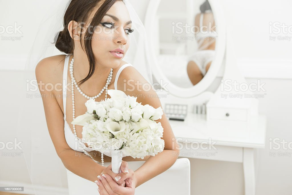 Bride in lingerie royalty-free stock photo
