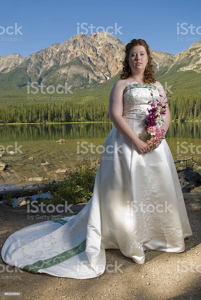 Bride in the Mountains stock photo