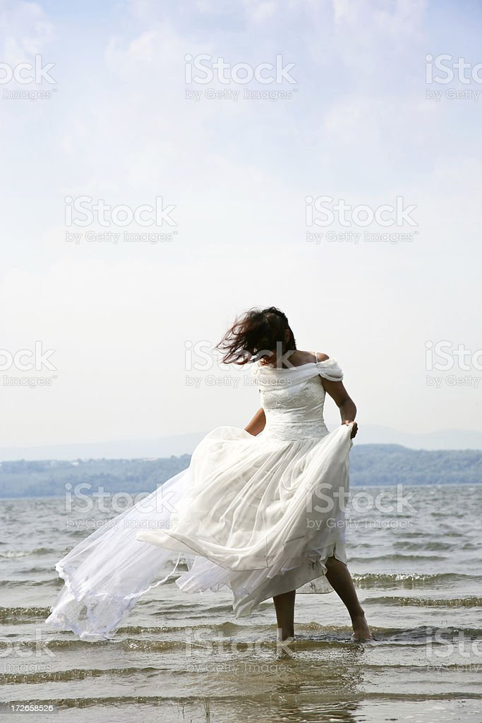 Bride in the sea royalty-free stock photo