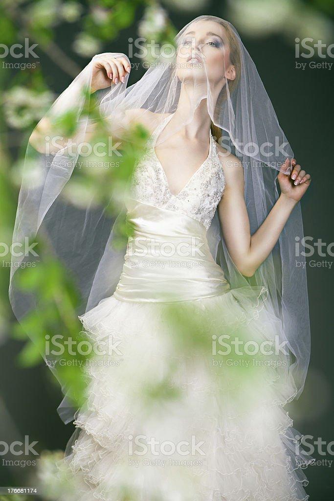 Novia en boda vestido con flores detrás de bush foto de stock libre de derechos