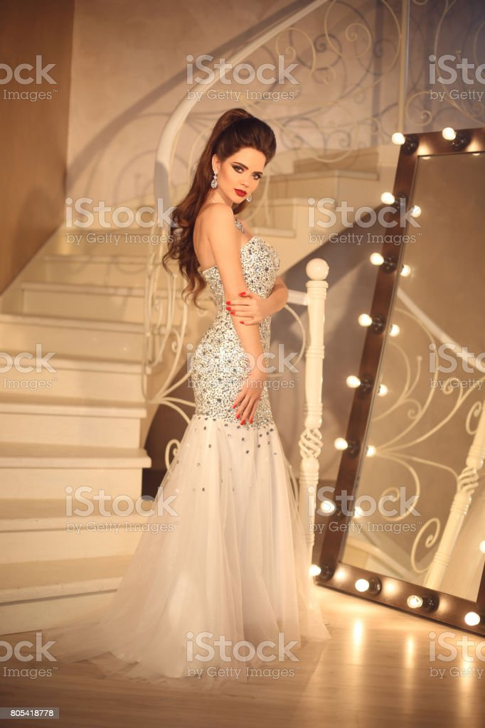 Bride In Wedding Dress Elegant Brunette Sexy Woman In Long Gown By