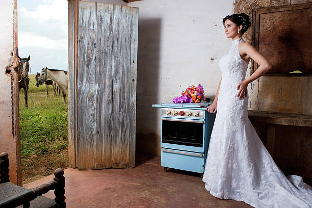 Bride inside old countryhouse kitchen with stove bouquet and horses - foto de acervo