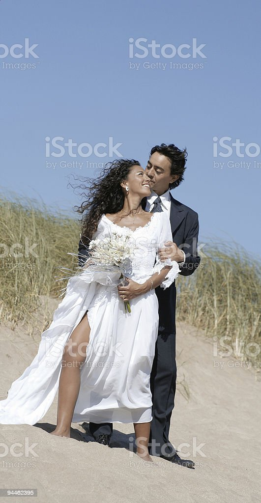 Bride kissed by groom royalty-free stock photo