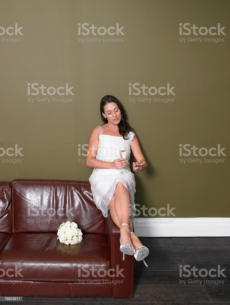 A bride looking at hand royalty-free 스톡 사진