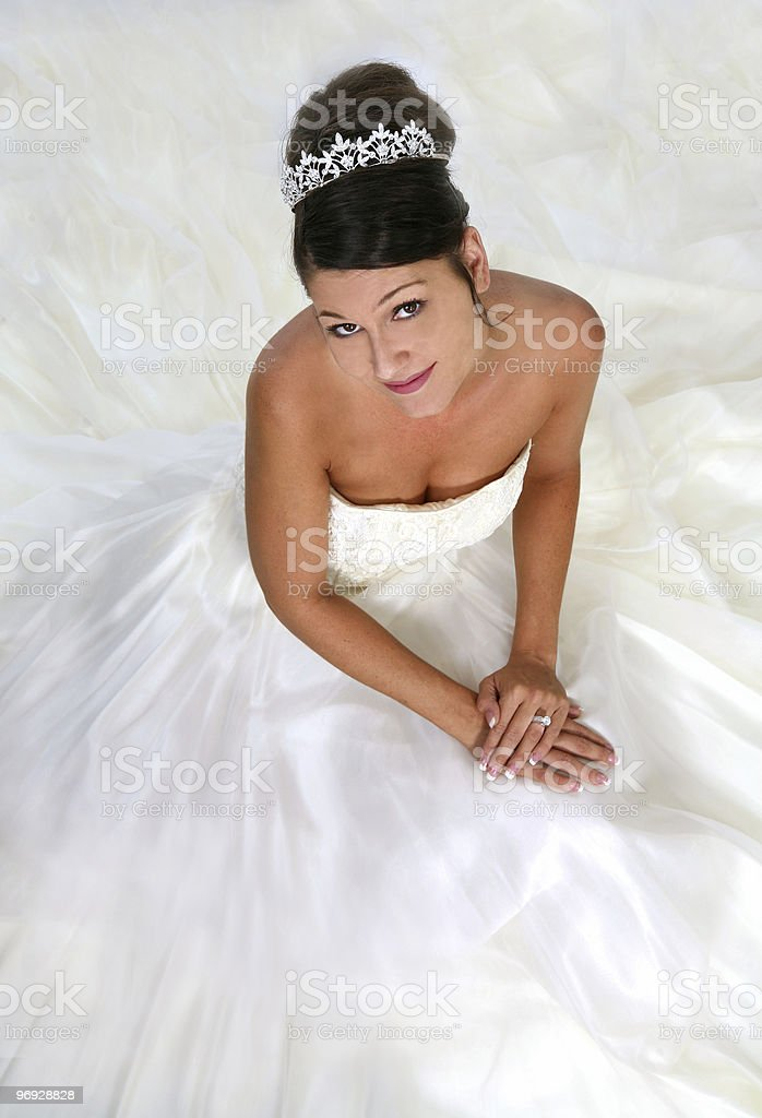 Bride Looking Up royalty-free stock photo