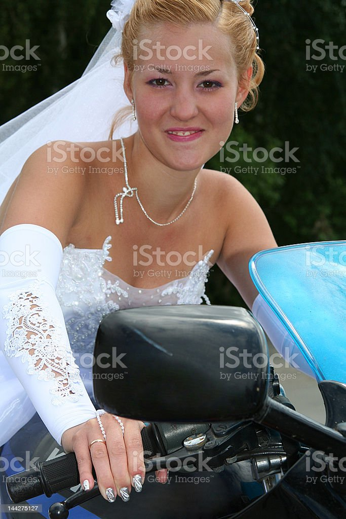 bride  & motorcycle royalty-free stock photo