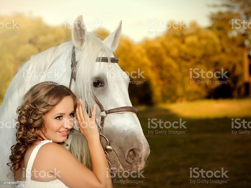 bride near horse royalty-free stock photo