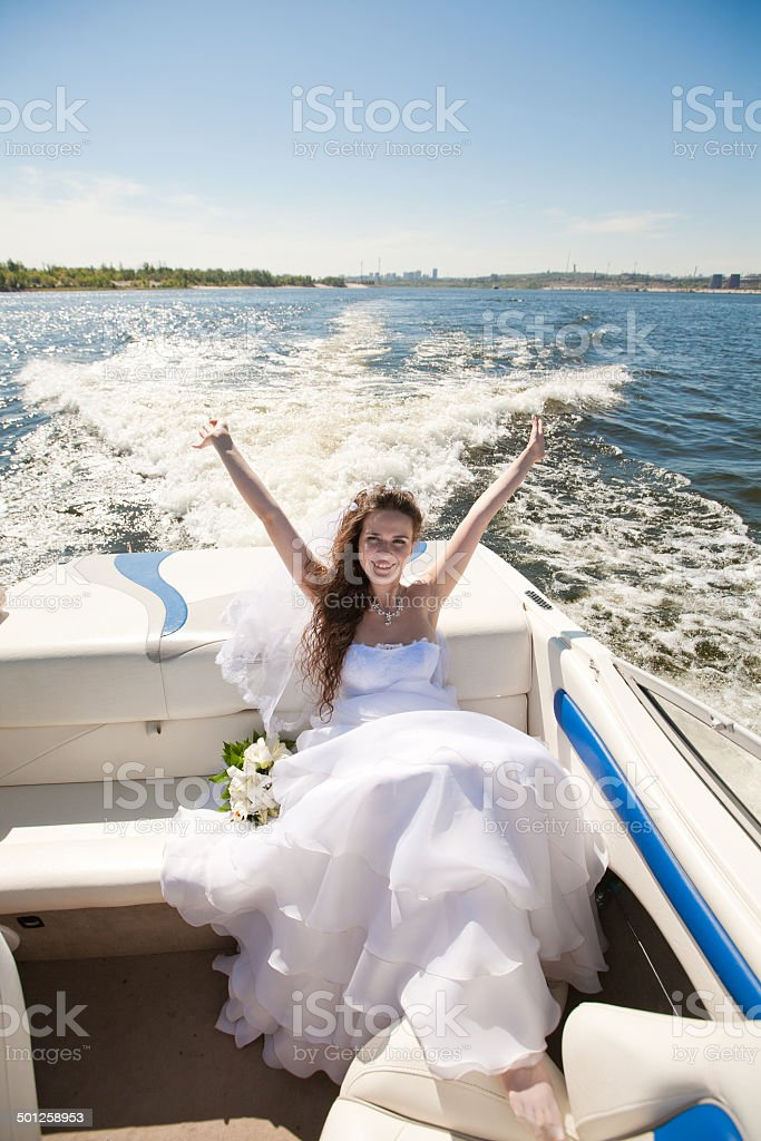 bride on the boat royalty-free stock photo