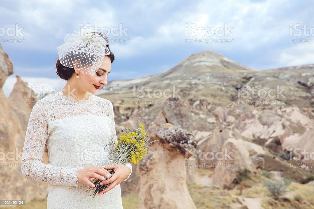 Bride portrait in Cappadocia, Turkey Lizenzfreies stock-foto