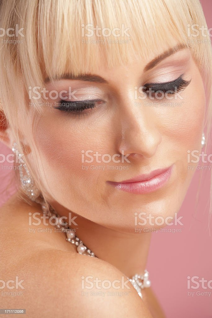 Bride Portrait on pink background royalty-free stock photo