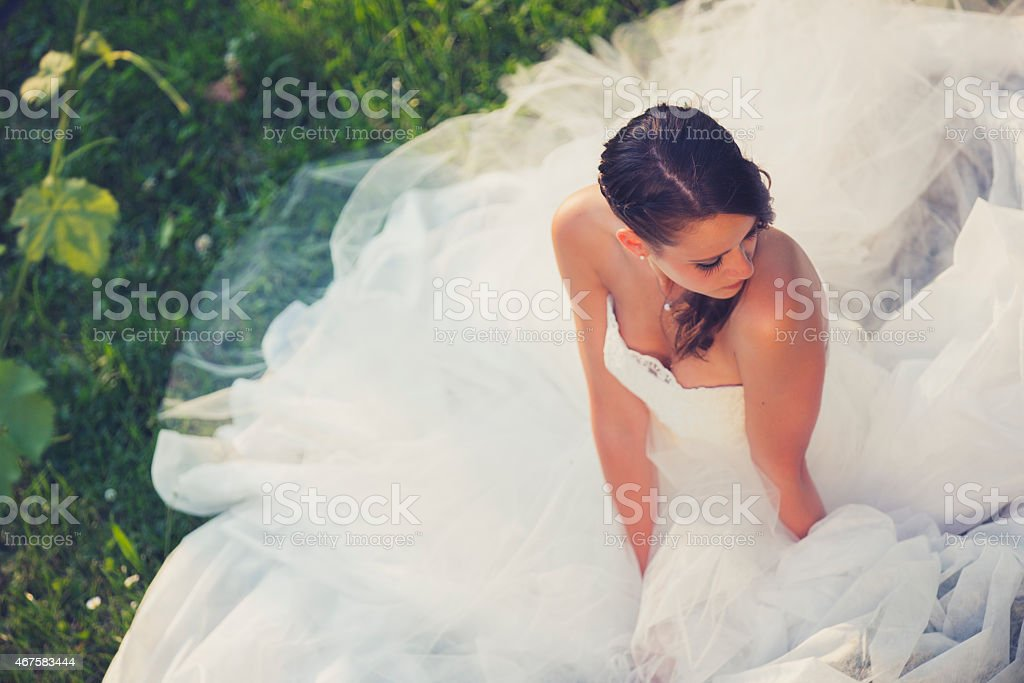 A bride posing as her dress blows in the wind stock photo
