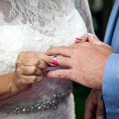 closeup of bride putting ring on finger of groom