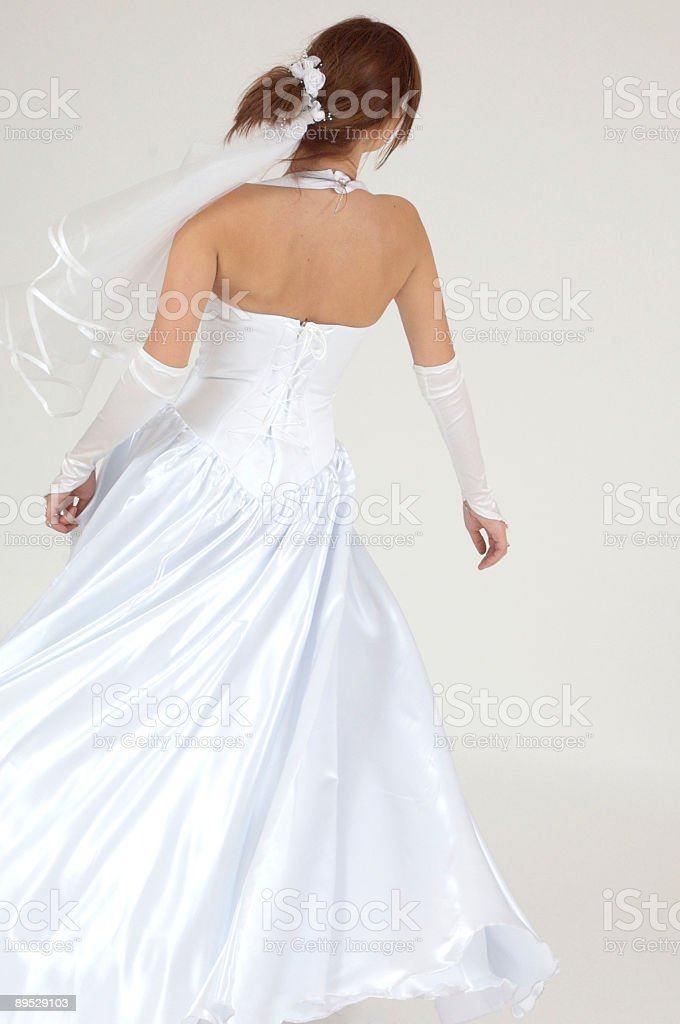Bride seen back royalty-free stock photo