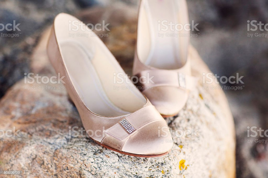 Bride shoes, Wedding. stock photo