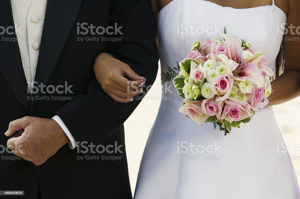 Bride Standing  With Father stock photo