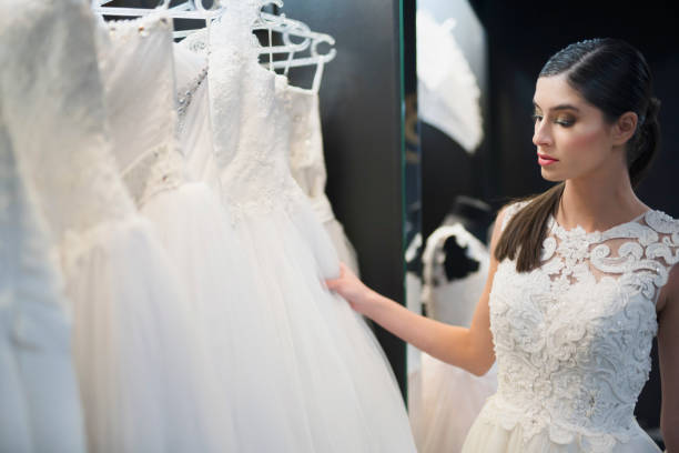 Bride thinking about that dress.. stock photo