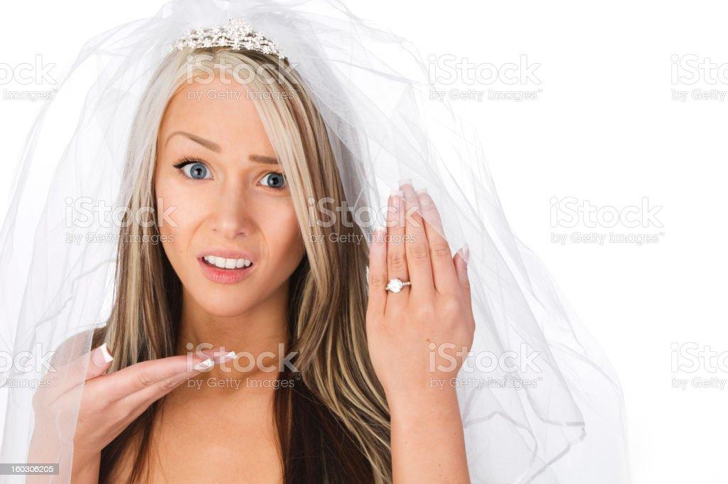 bride unhappy with wedding ring stock photo