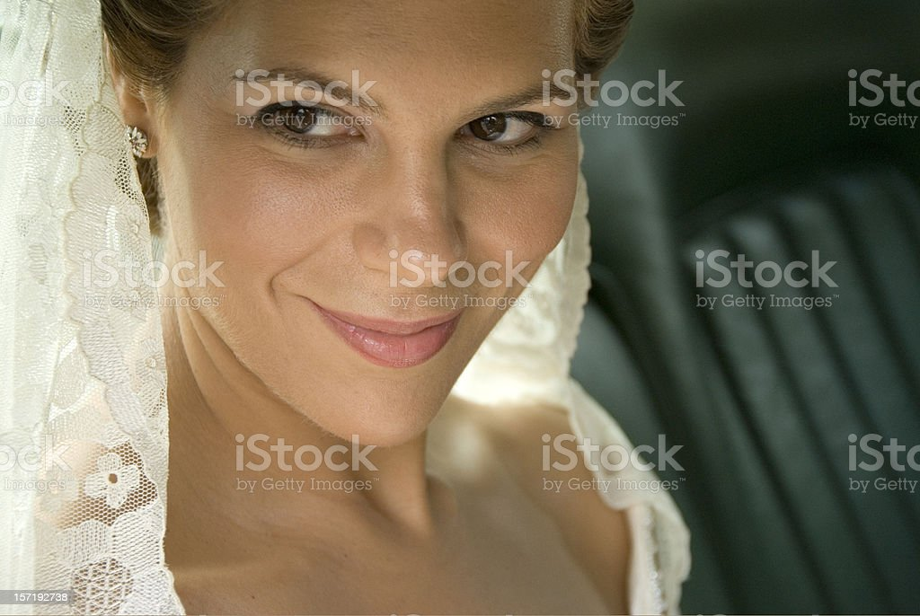 Bride waiting in the Rolls Royce royalty-free stock photo