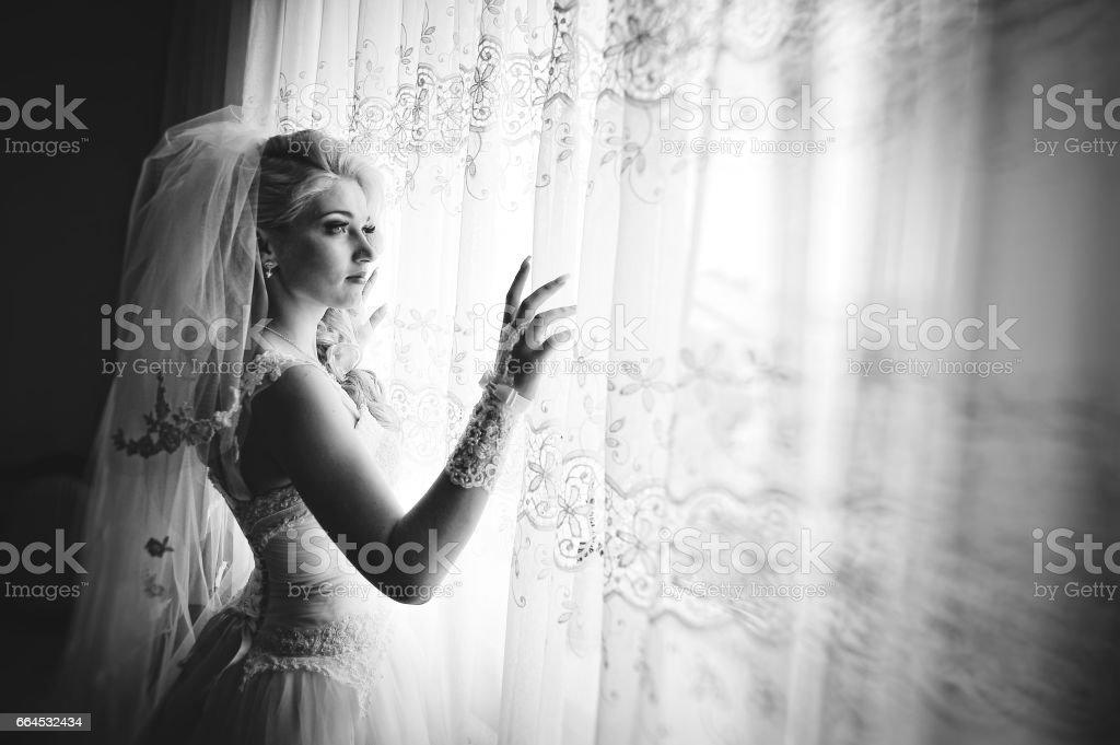 Bride wear wedding dress royalty-free stock photo
