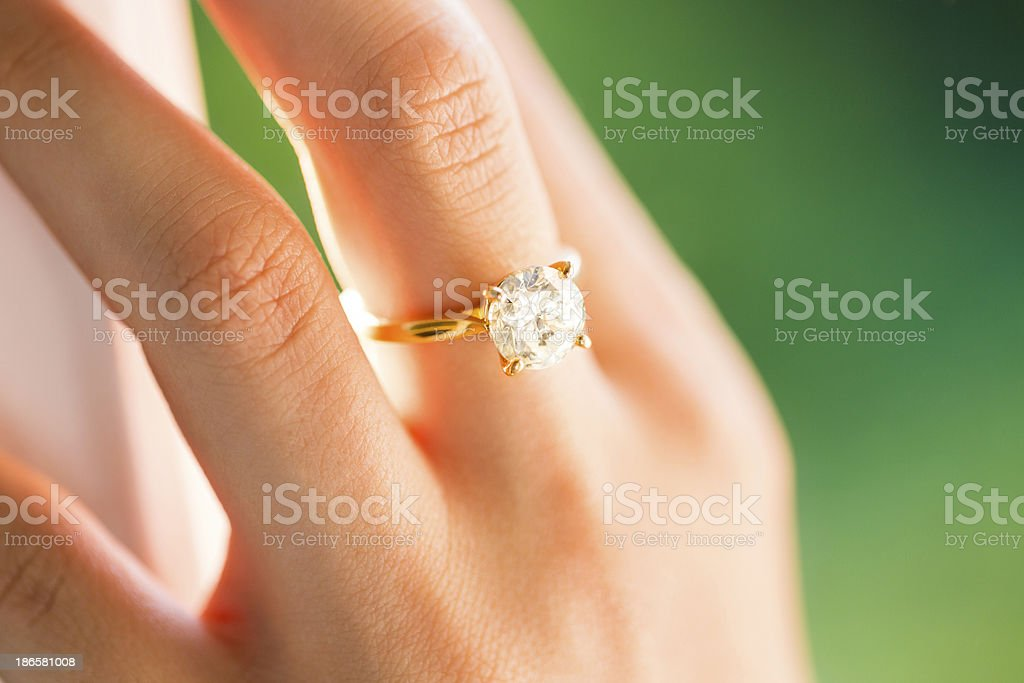 Bride Wearing Diamond Ring stock photo