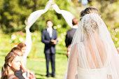 Rear view of bride wearing veil walking down the aisle during garden wedding. Horizontal shot.