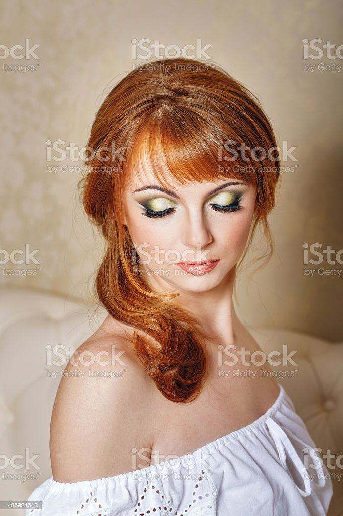 Bride with a high hairdo royalty-free stock photo