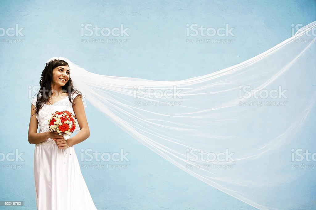 bride with a wedding bouquet royalty-free stock photo
