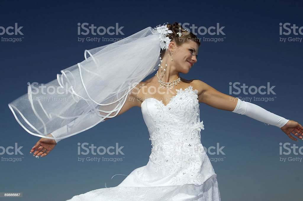 Bride with arms wide open in her wedding dress and veil stock photo