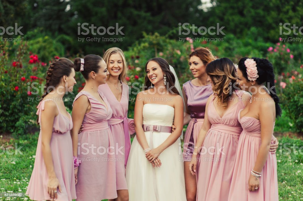 Bride with bridesmaids in pink dresses for a walk stock photo