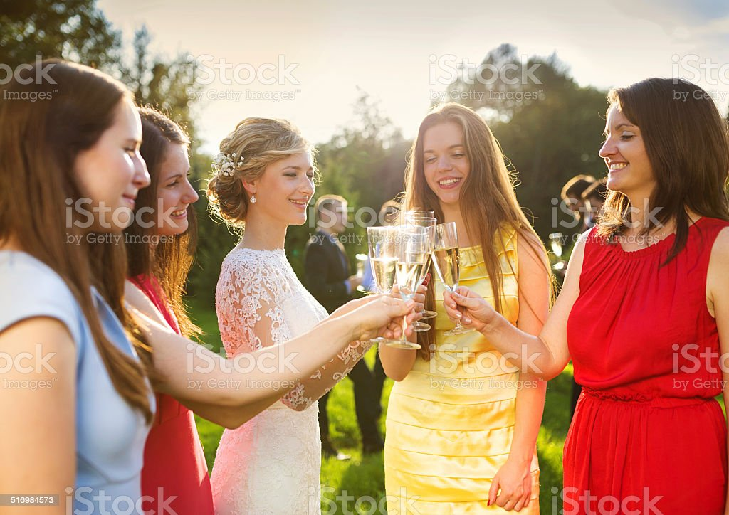 Bride with bridesmaids toasting stock photo