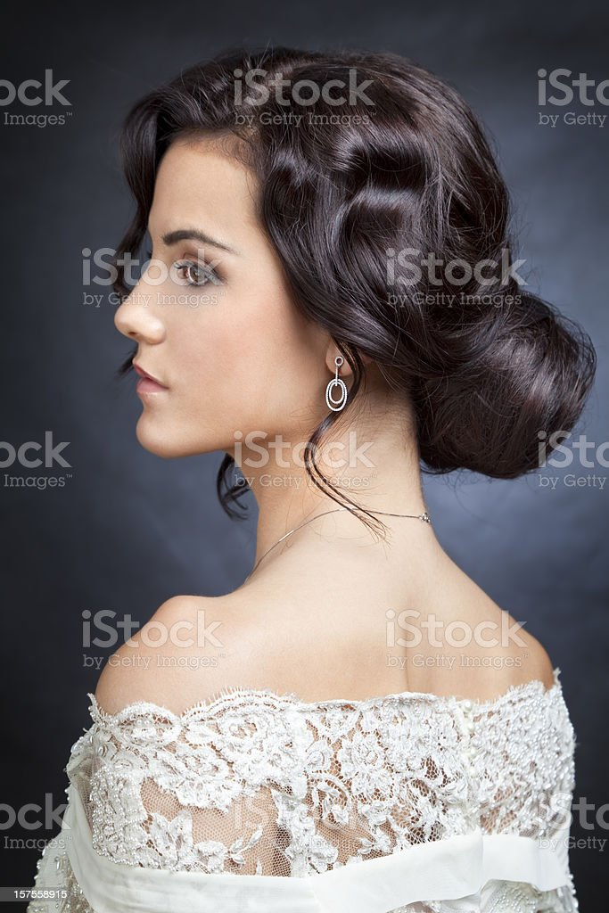 Bride with bun stock photo