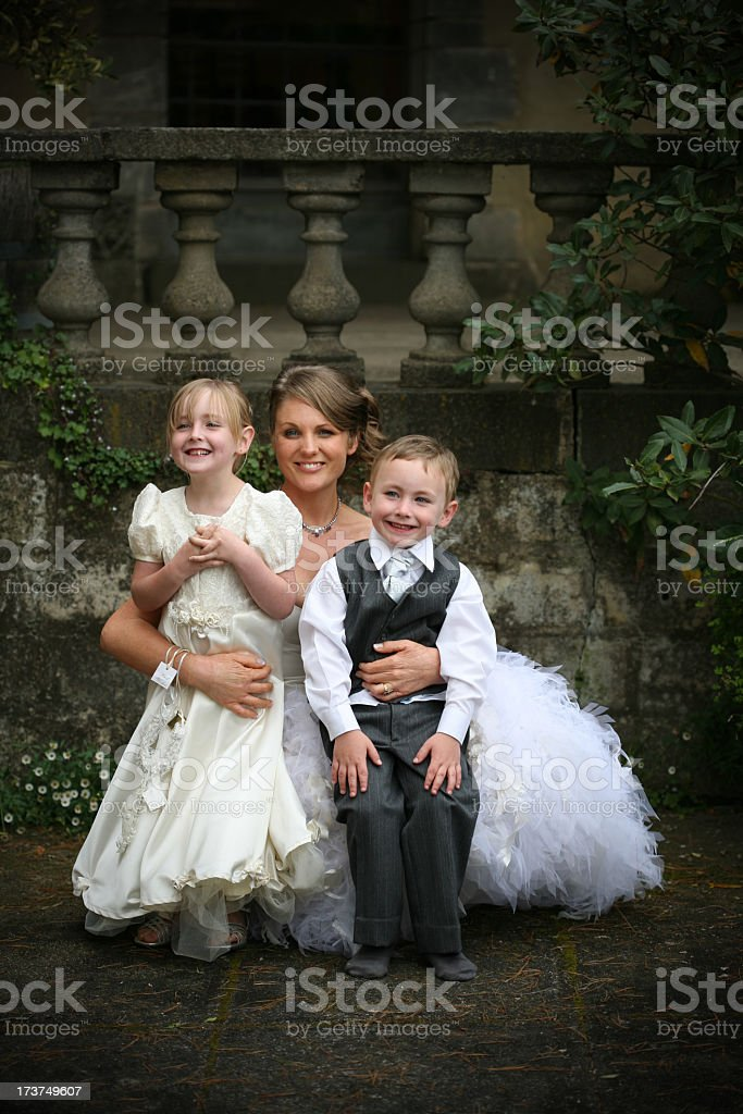 Bride with children stock photo
