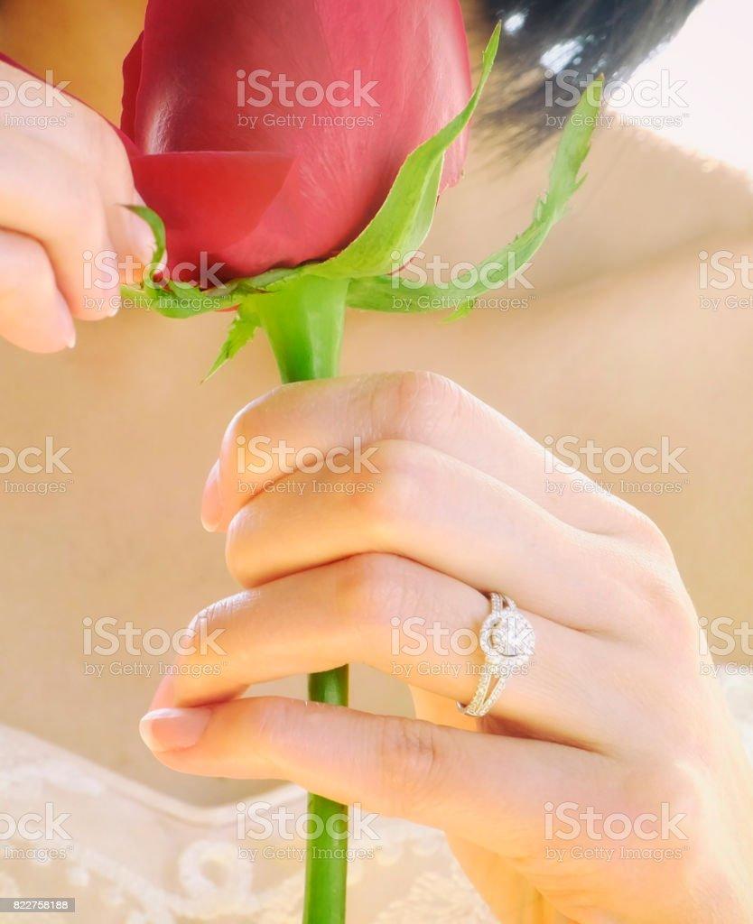 Bride with Diamond Wedding Ring stock photo
