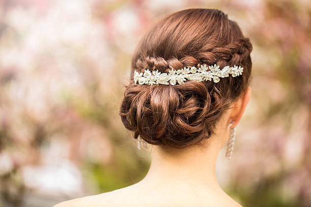 Bride with elegant tiara in wedding hairstyle Luxury diamond tiara in bridal hairstyle wundervisuals stock pictures, royalty-free photos & images